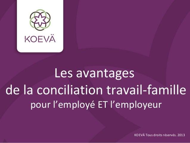 Les avantages de la conciliation travail-famille pour l'employé ET l'employeur KOEVÄ Tous droits réservés. 2013