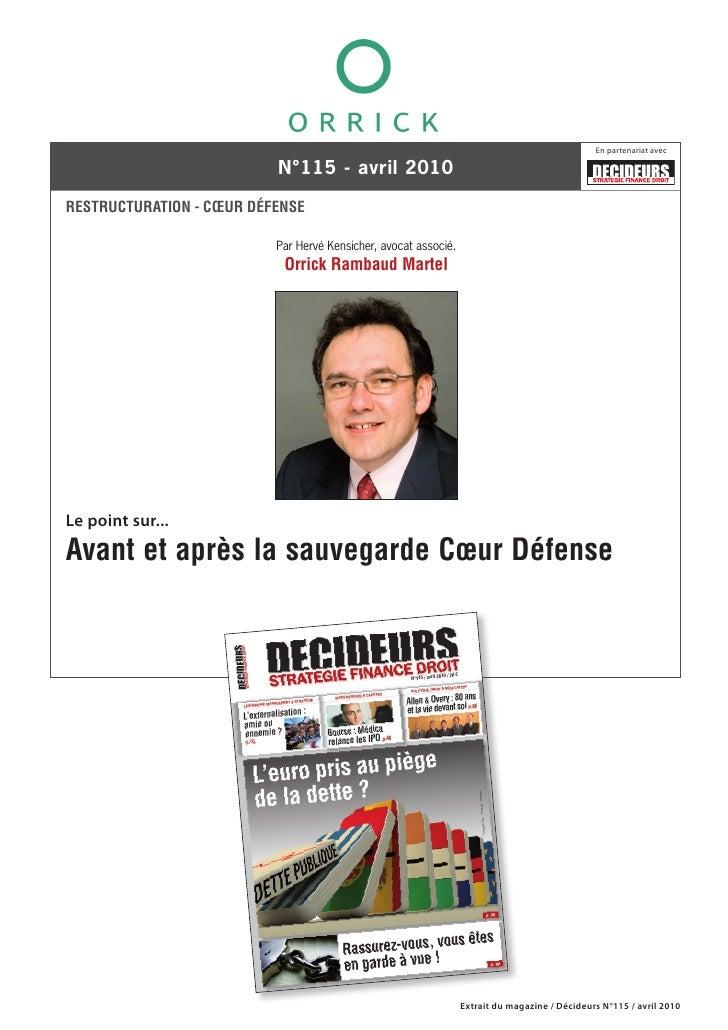 En partenariat avec                            N°115 - avril 2010  RESTRUCTURATION - CŒUR DÉFENSE                         ...