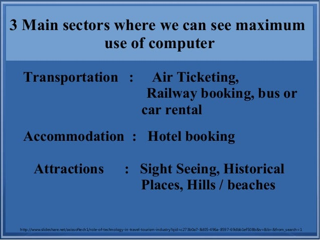 3 Main sectors where we can see maximum use of computer Transportation : Air Ticketing, Railway booking, bus or car rental...