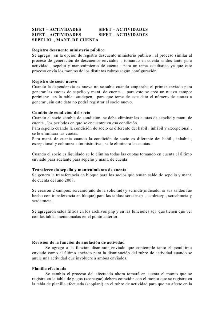 SIFET – ACTIVIDADES       SIFET – ACTIVIDADES SIFET – ACTIVIDADES       SIFET – ACTIVIDADES SEPELIO , MANT. DE CUENTA  Reg...