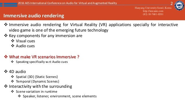 Immersive audio rendering for interactive complex virtual architectur…