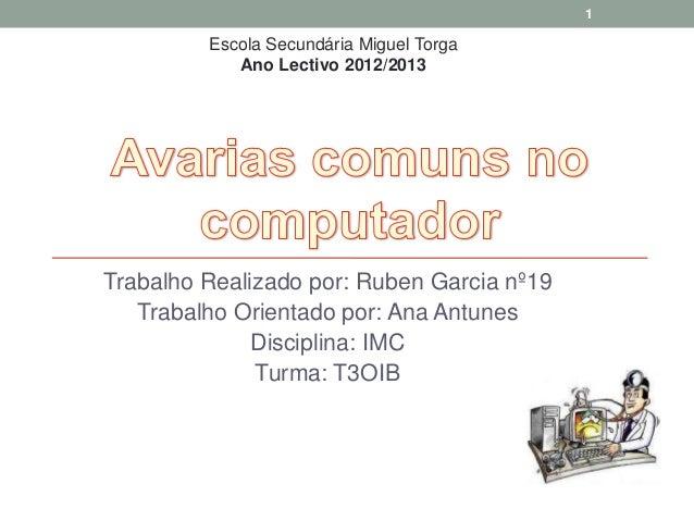 1         Escola Secundária Miguel Torga            Ano Lectivo 2012/2013Trabalho Realizado por: Ruben Garcia nº19   Traba...