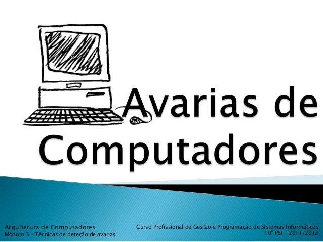 Arquitetura de Computadores                 Curso Profissional de Gestão e Programação de Sistemas InformáticosMódulo 3 – ...