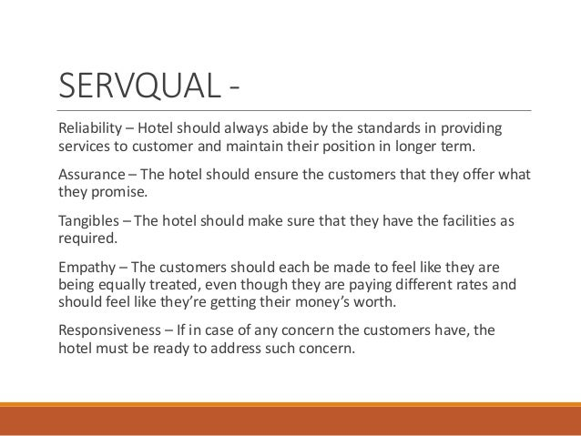 servqual hilton hotel The importance of cross-cultural expectations in the measurement of service quality perceptions in the hotel industry  australia connie mok conrad n hilton .