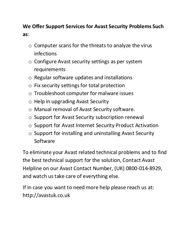 avast security contact number