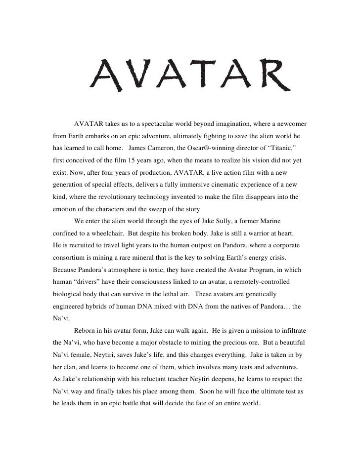 Avatar press kit for Film treatment template