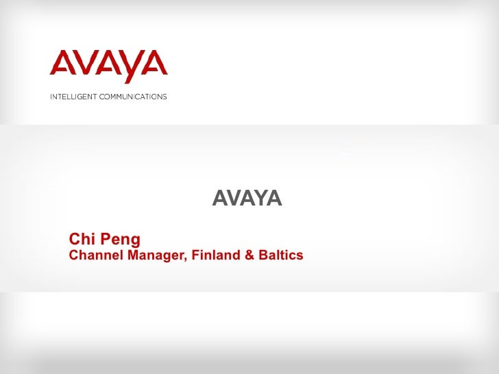 AVAYA Chi Peng Channel Manager, Finland & Baltics