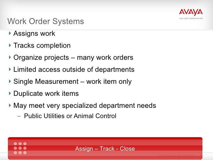 Work Order Systems <ul><li>Assigns work </li></ul><ul><li>Tracks completion </li></ul><ul><li>Organize projects – many wor...