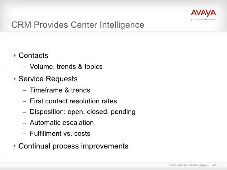 CRM Provides Center Intelligence  <ul><li>Contacts </li></ul><ul><ul><li>Volume, trends & topics </li></ul></ul><ul><li>Se...