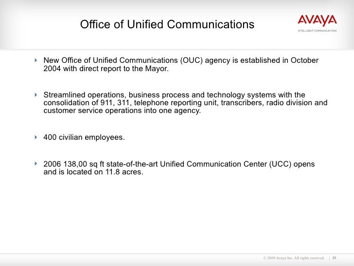 Office of Unified Communications  <ul><li>New Office of Unified Communications (OUC) agency is established in October 2004...