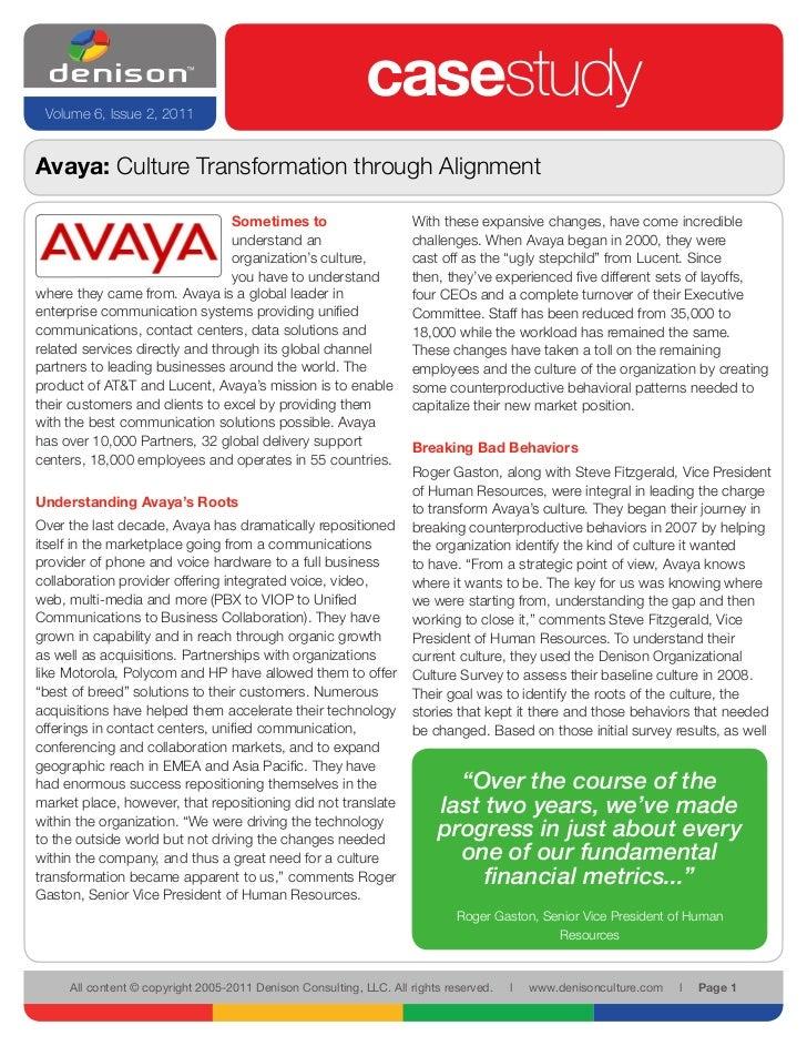 Volume 6, Issue 2, 2011                                                            casestudyAvaya: Culture Transformation ...