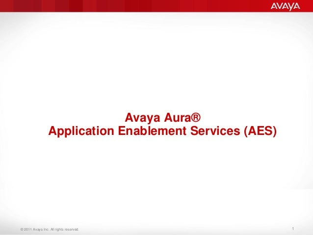 © 2011 Avaya Inc. All rights reserved. Avaya Aura® Application Enablement Services (AES) 1
