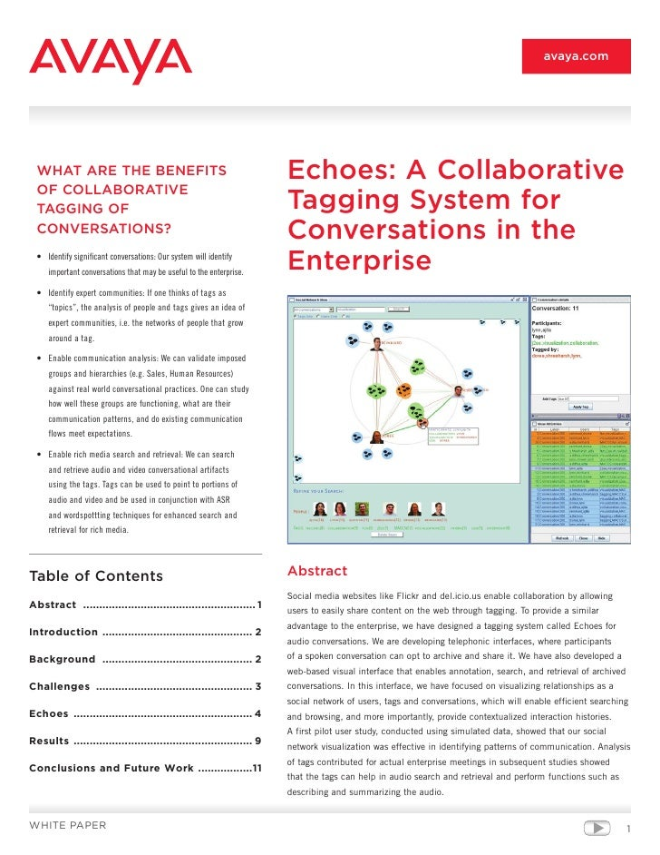 avaya.com       WHAT ARE THE BENEFITS                                               Echoes: A Collaborative   OF COLLABORA...