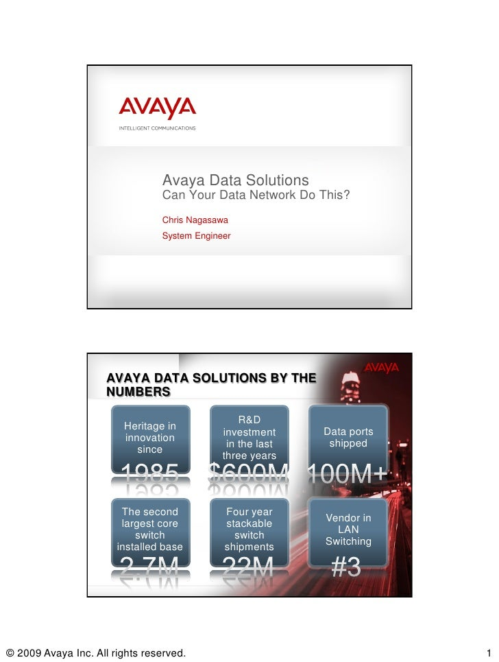 Avaya Data Solutions                                Can Your Data Network Do This?                                Chris Na...
