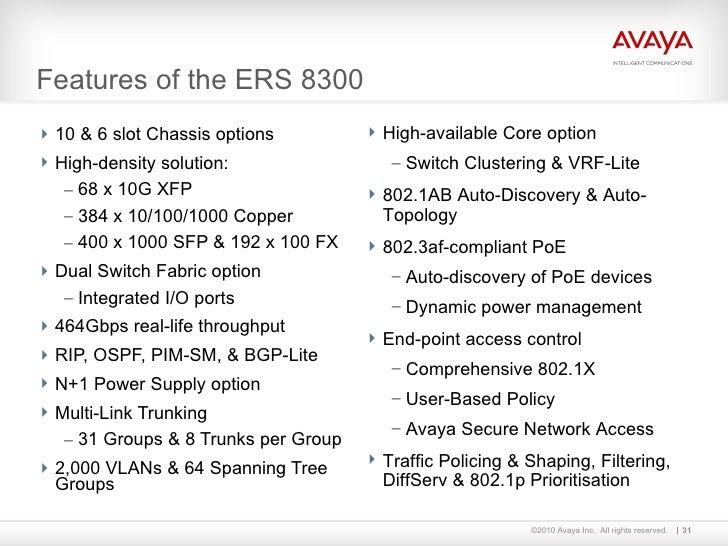 Avaya ethernet switching portfolio presentation [level 3