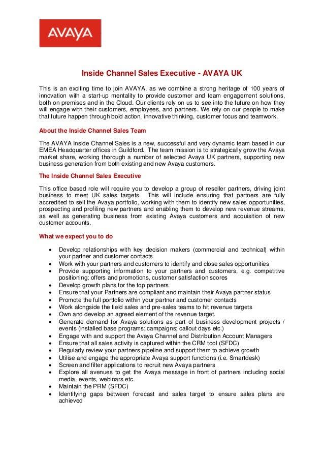 AVAYA Internal Channel Sales Executive Job