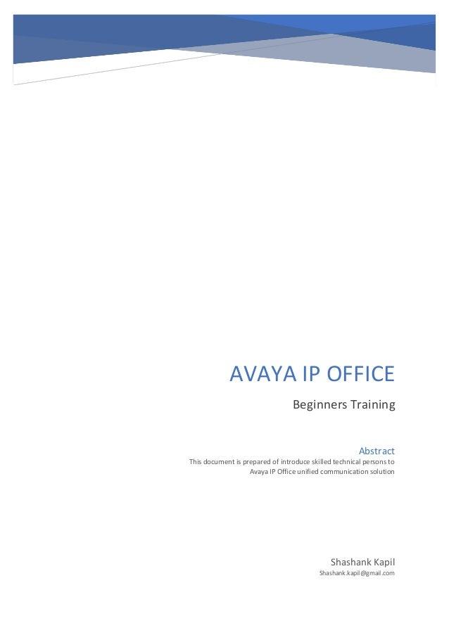 Avaya ip office beginners training