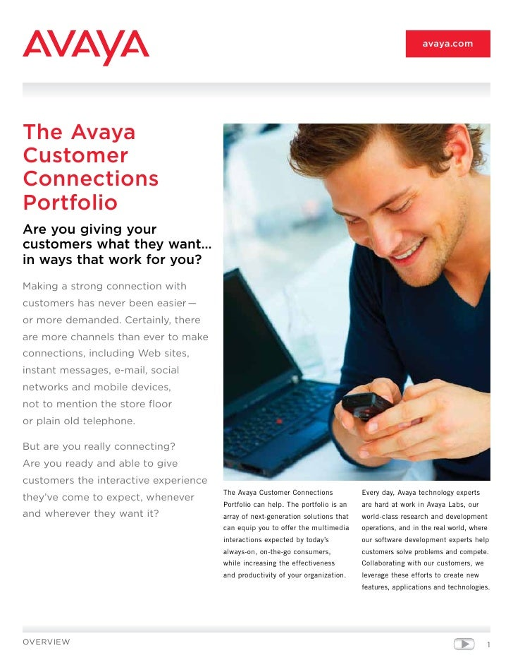 avaya.com     The Avaya Customer Connections Portfolio Are you giving your customers what they want… in ways that work for...
