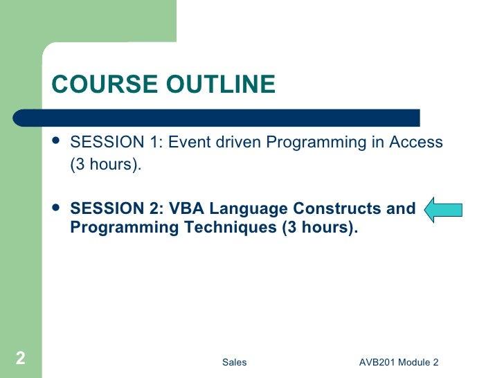 AVB201 2 Microsoft Access VBA Module 2