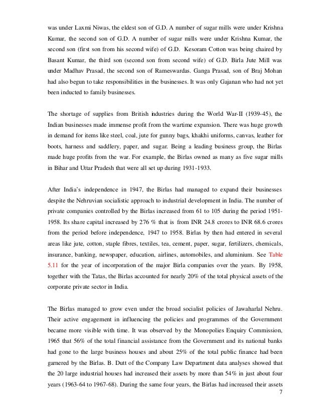 was under Laxmi Niwas, the eldest son of G.D. A number of sugar mills were under Krishna Kumar, the second son of G.D. A n...