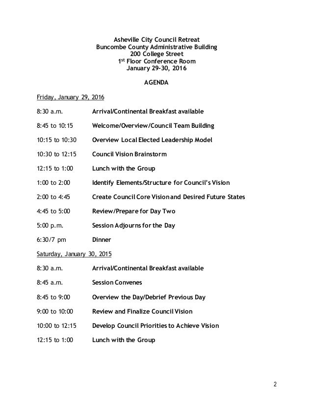 Asheville City Council Annual Retreat Agenda