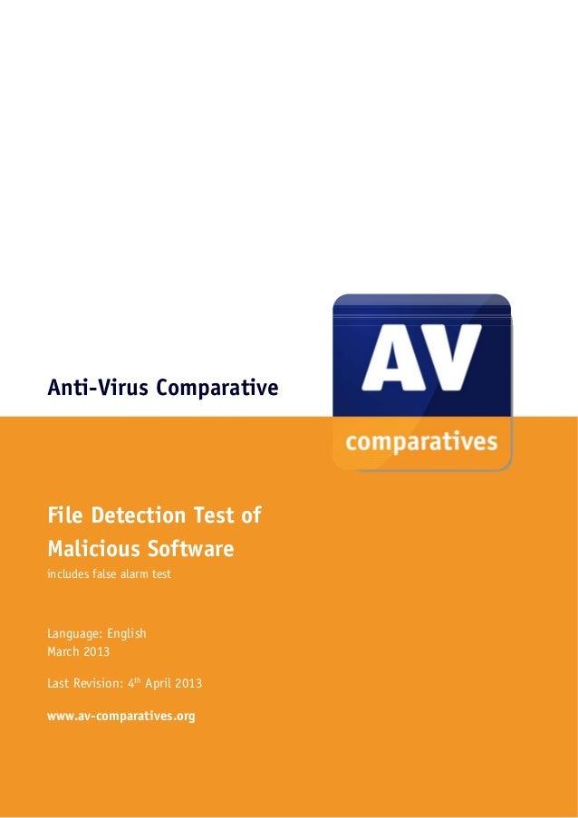 Anti-Virus ComparativeFile Detection Test ofMalicious Softwareincludes false alarm testLanguage: EnglishMarch 2013Last Rev...