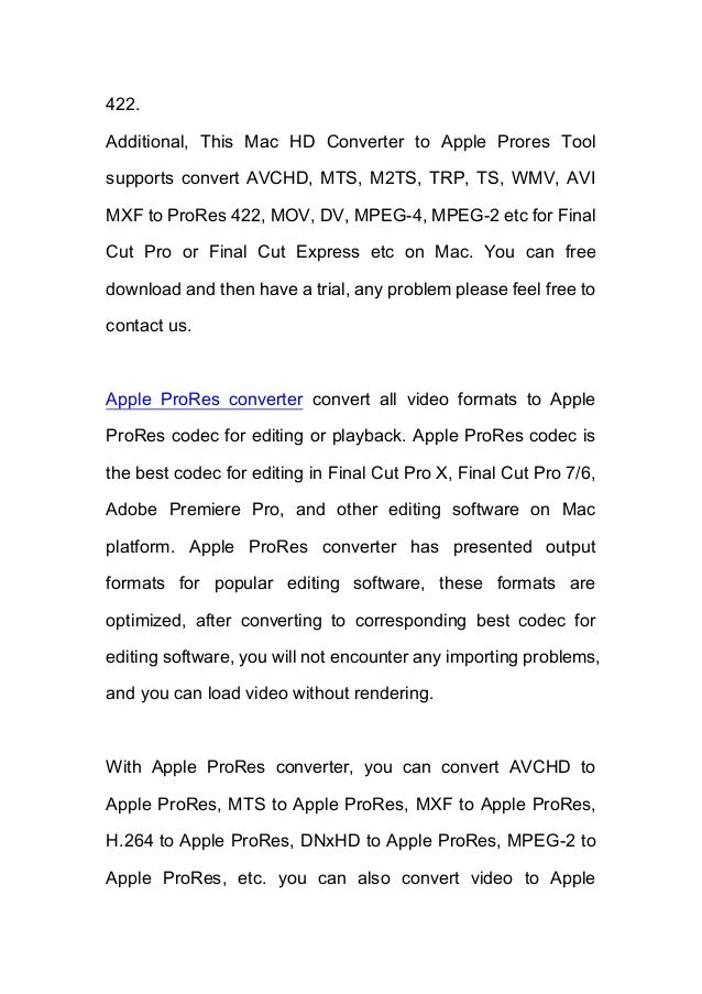 How to Convert AVCHD/MTS Footage to Apple Prores 422 for FCP?