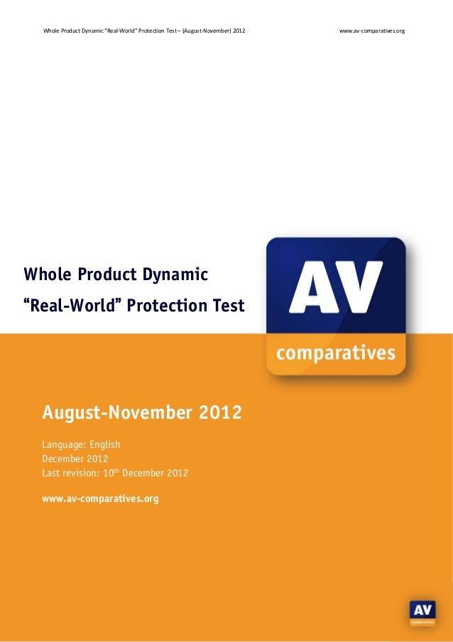 "WholeProductDynamic""Real‐World""ProtectionTest–(August‐November)2012   www.av‐comparatives.orgWhole Product Dynam..."