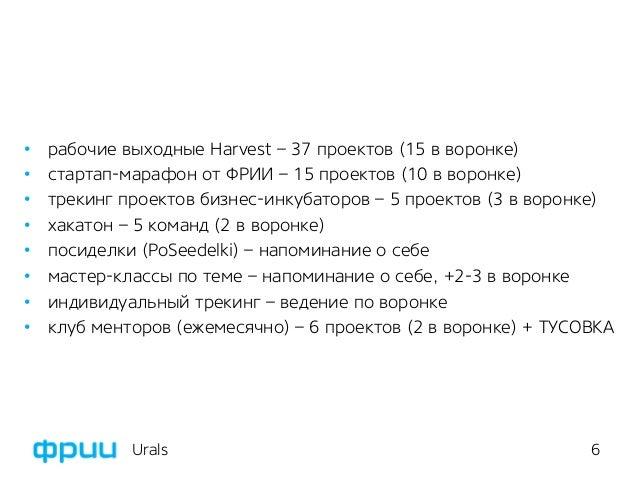 6 • рабочие выходные Harvest – 37 проектов (15 в воронке) • стартап-марафон от ФРИИ – 15 проектов (10 в воронке) • трек...