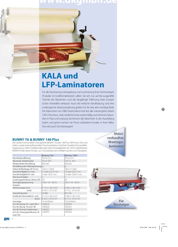 www.dkgmbh.de                                  KALA und                                  LFP-Laminatoren                  ...