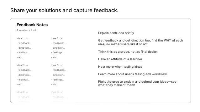 Iterate based on feedback. Reflect and generate a new solution Sketch your new big idea 3 min Gain deeper understanding fr...