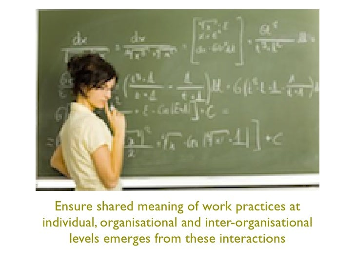 Ensure shared meaning of work practices atindividual, organisational and inter-organisational     levels emerges from thes...