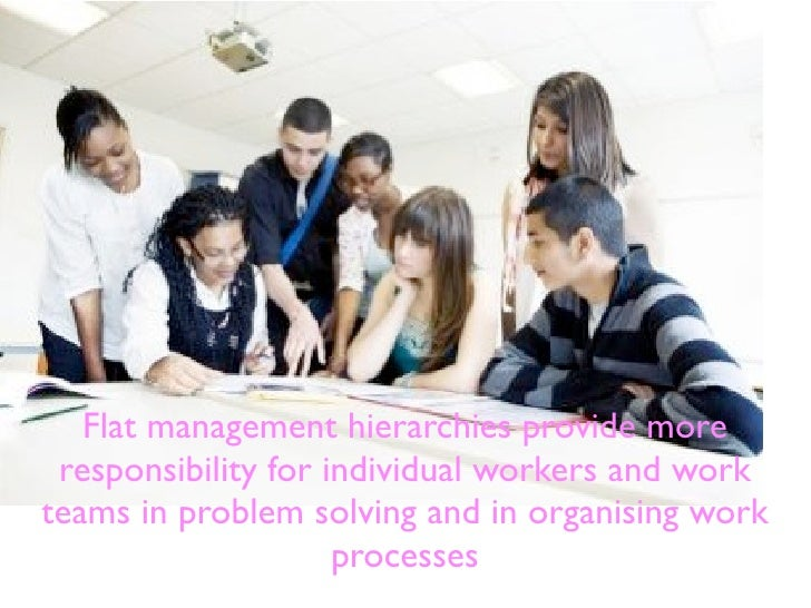 Flat management hierarchies provide more responsibility for individual workers and workteams in problem solving and in org...