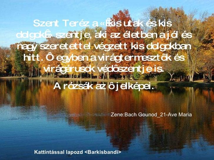 Szent Teréz a «kis utak és kis  dolgok» szentje, aki az életben a jól és nagy szeretettel végzett kis dolgokban hitt. Ô ...