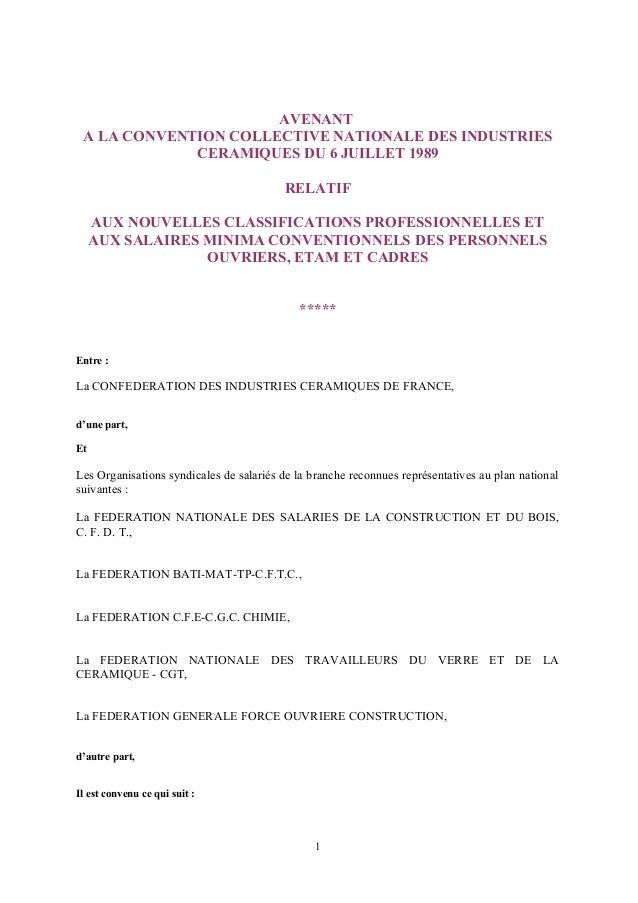 AVENANT A LA CONVENTION COLLECTIVE NATIONALE DES INDUSTRIES CERAMIQUES DU 6 JUILLET 1989 RELATIF AUX NOUVELLES CLASSIFICAT...