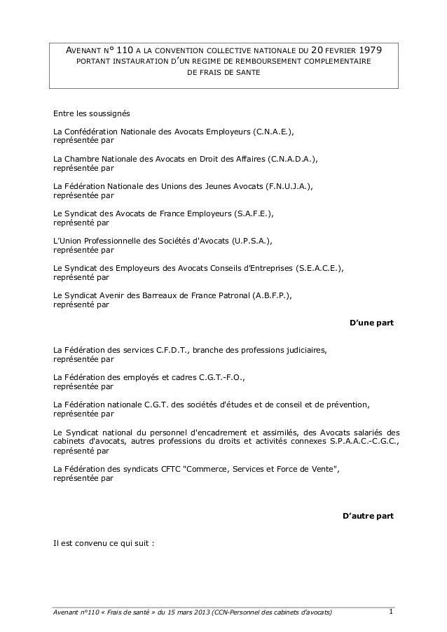 Avenant n°110 « Frais de santé » du 15 mars 2013 (CCN-Personnel des cabinets d'avocats)    1   AVENANT N° 110 A LA CON...