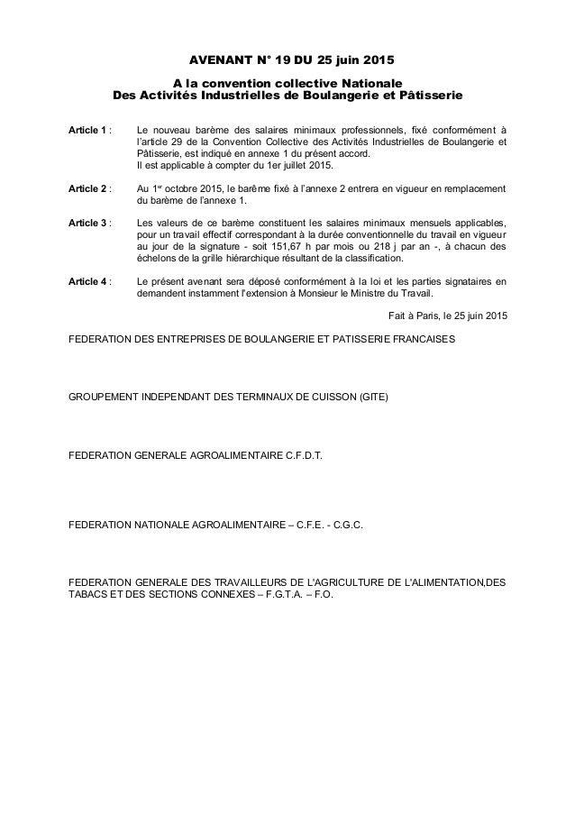 AVENANT N° 19 DU 25 juin 2015 A la convention collective Nationale Des Activités Industrielles de Boulangerie et Pâtisseri...