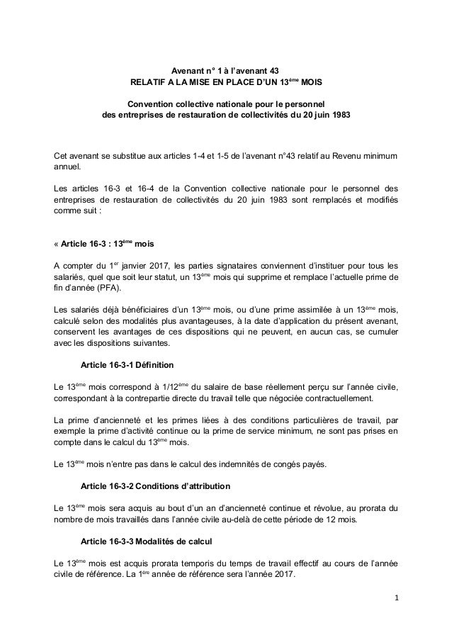 Idcc 1266 Avenant N 1 A L Avenant 43 Du 11 Mars 2016