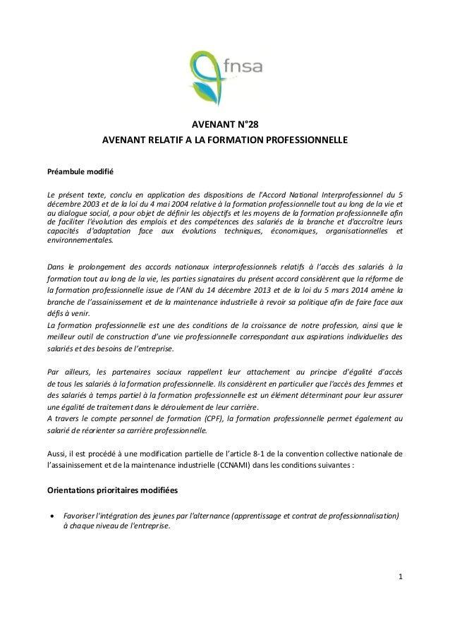 Idcc 2272 Avenant 28 Du 20 Decembre 2016 Formation Professionnelle