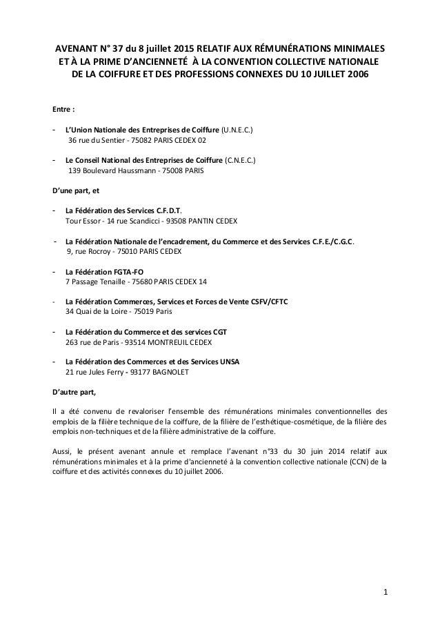 AVENANT N° 37 du 8 juillet 2015 RELATIF AUX RÉMUNÉRATIONS MINIMALES ET À LA PRIME D'ANCIENNETÉ À LA CONVENTION COLLECTIVE ...