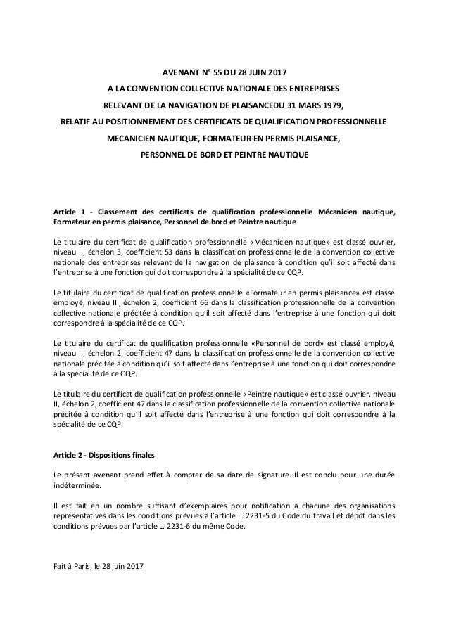 AVENANT N° 55 DU 28 JUIN 2017 A LA CONVENTION COLLECTIVE NATIONALE DES ENTREPRISES RELEVANT DE LA NAVIGATION DE PLAISANCED...