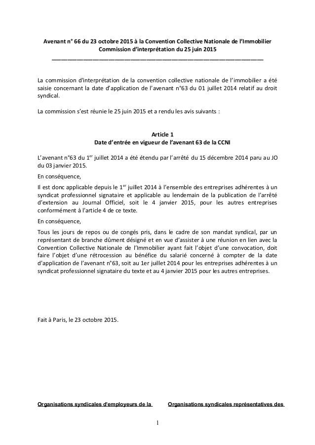 Avenant n° 66 du 23 octobre 2015 à la Convention Collective Nationale de l'Immobilier Commission d'interprétation du 25 ju...