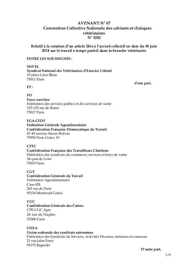 1/4 AVENANT N° 67 Convention Collective Nationale des cabinets et cliniques vétérinaires N° 3282 Relatif à la création d'u...