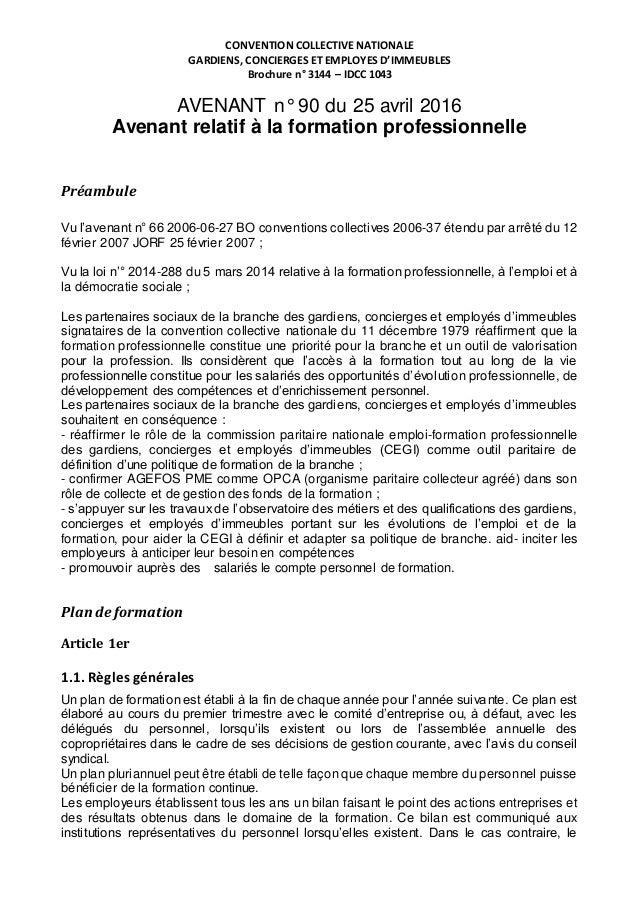 Idcc 1043 avenant 90 formation professionnelle 2016 - Egerie formation gardien d immeuble ...
