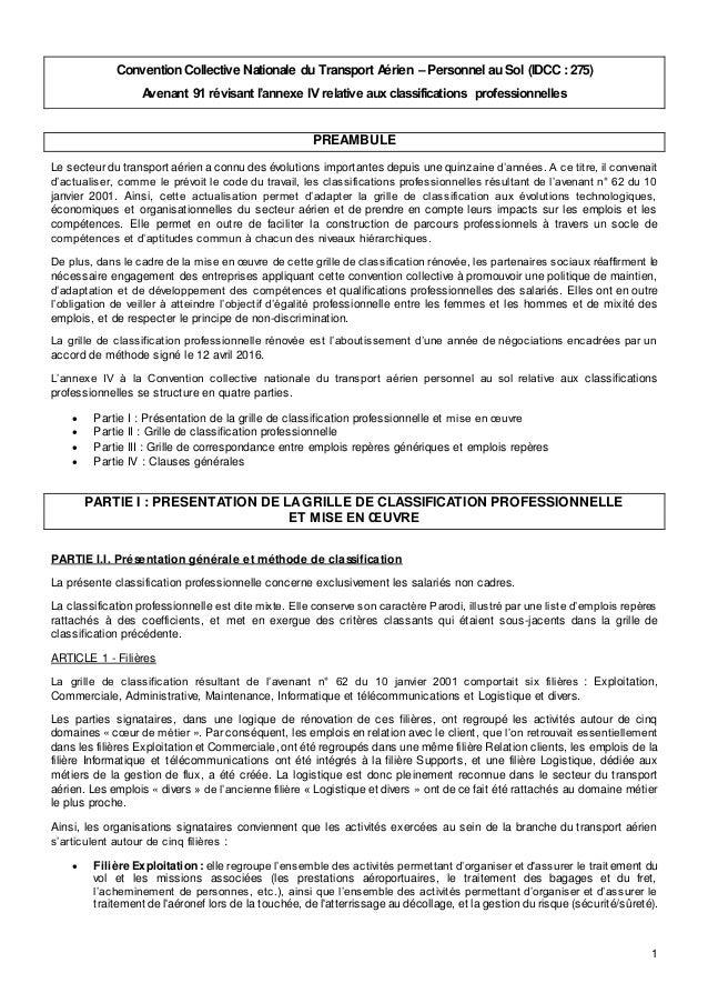 Idcc 275 Classifications Dans La Ccn Du Personnel Au Sol Du Transpor