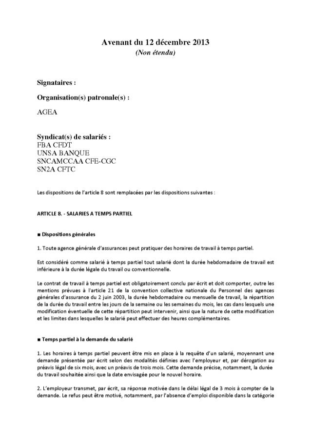 Assurance Générale - Avenant aménagement réduction temps de travail du 20 décembre 2000 du 12 12-13