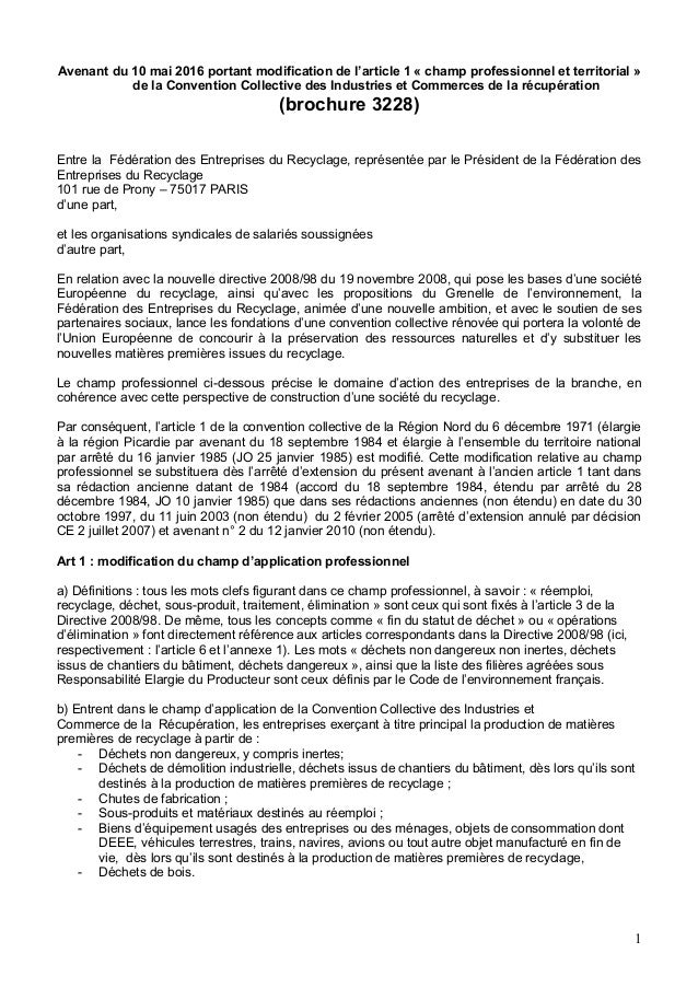 Avenant du 10 mai 2016 portant modification de l'article 1 « champ professionnel et territorial » de la Convention Collect...