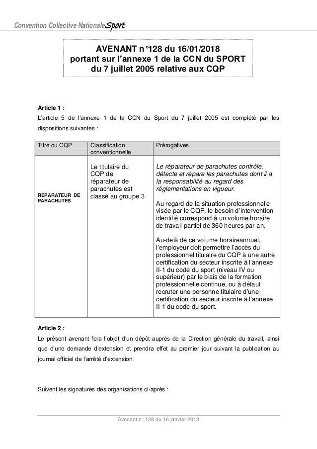 Convention Collective NationaleSport Avenant n° 128 du 16 janvier 2018 AVENANT n°128 du 16/01/2018 portant sur l'annexe 1 ...