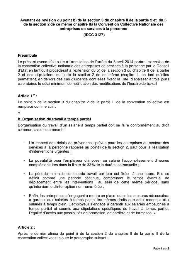 Idcc 3127 Avenant Revision Temps Partiel