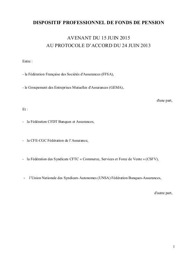 DISPOSITIF PROFESSIONNEL DE FONDS DE PENSION AVENANT DU 15 JUIN 2015 AU PROTOCOLE D'ACCORD DU 24 JUIN 2013 Entre : - la Fé...